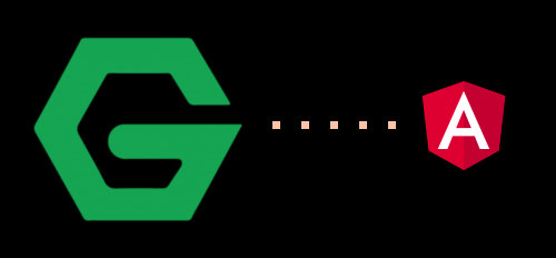 An NGINX G acting like Pacman, about to eat the Angular logo