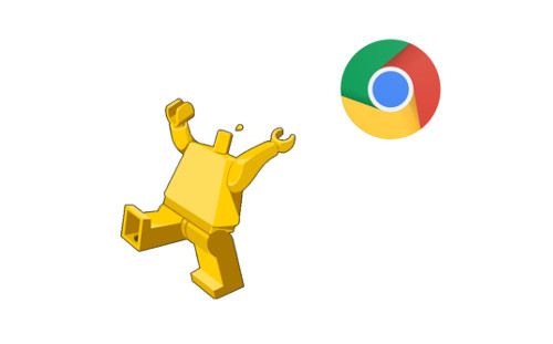 A headless minifigure and a Chrome logo