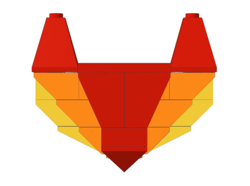 The GitLab logo built with LEGOs